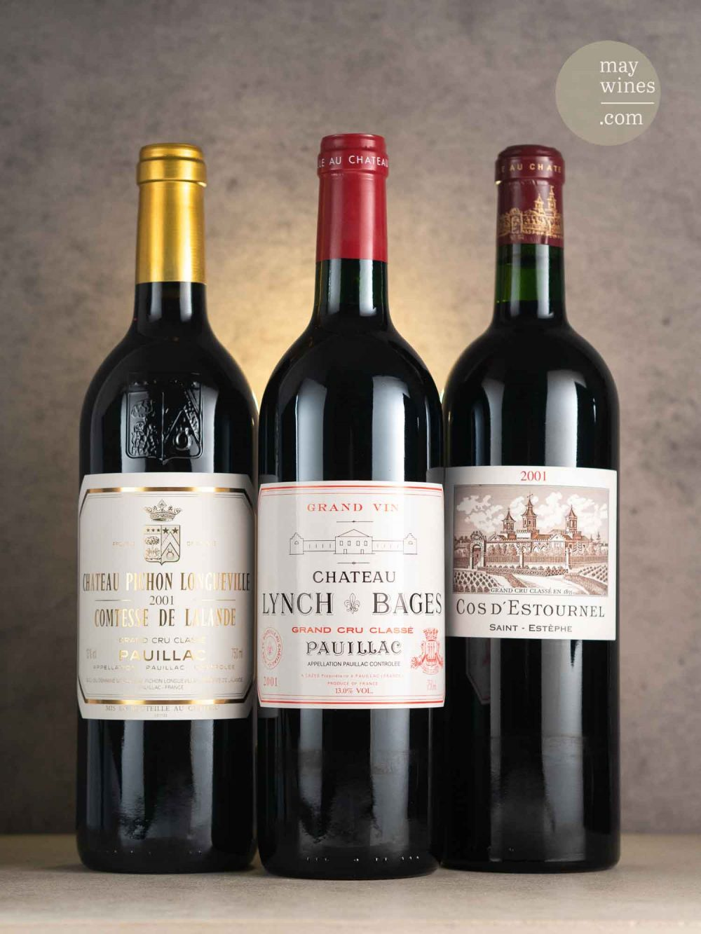 lynch-bages-cos-destournel-pichon-comtesse-2001-bordeaux-pauillac-saint-estephe